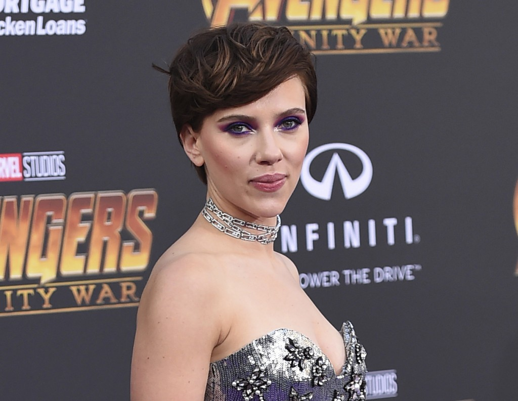 """FILE - In this April 23, 2018 file photo, Scarlett Johansson arrives at the world premiere of """"Avengers: Infinity War"""" in Los Angeles. Johansson has p"""