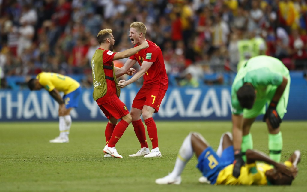 Belgium's Kevin De Bruyne (7) celebrates after the final whistle as Belgium defeat Brazil in their quarterfinal match between Brazil and Belgium at th...