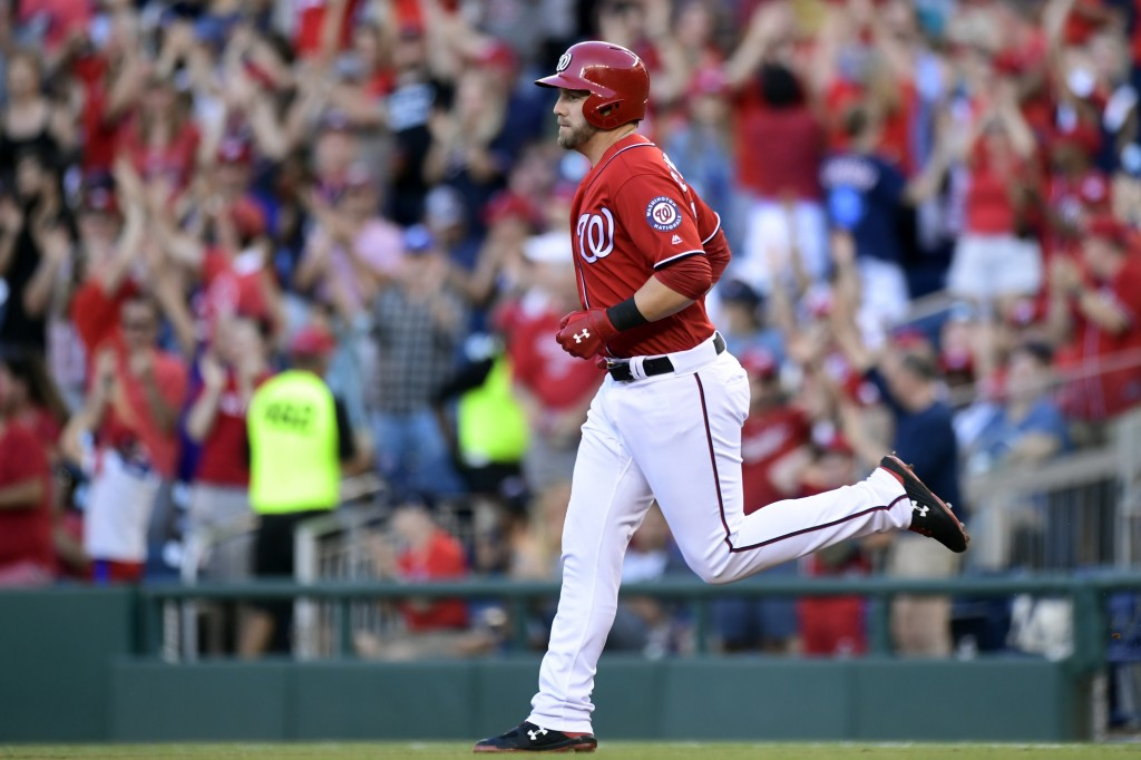 Washington Nationals Mark Reynolds rounds the bases after hitting a two-run home run against the Miami Marlins during the second inning of a baseball