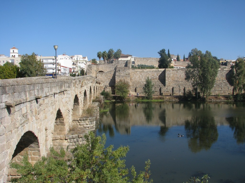 This Oct. 26, 2017 photo shows the two-millennia-old, half-mile Roman river bridge and, to its right, the Alcazaba (Arab Citadel) in Merida. This town...