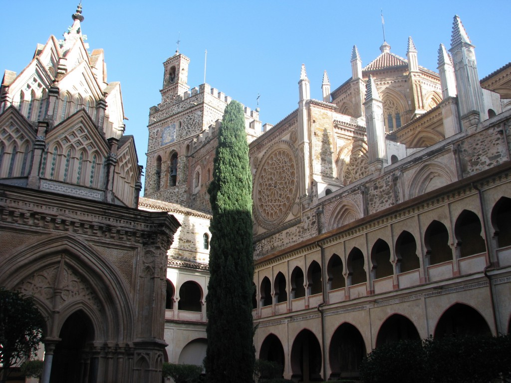 This Oct. 27, 2017 photo shows the cloister, the shrine and part of the main church in the monastery of Guadalupe in Spain's Extramadura region. For s...