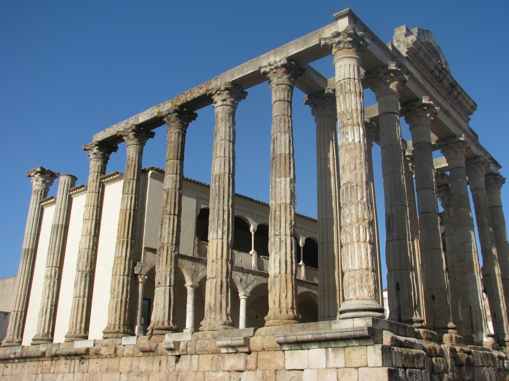 This October 26, 2017 photo shows the two-thousand-year-old Temple of Diana, one of the best preserved of the Roman monuments that fill Merida, Spain....