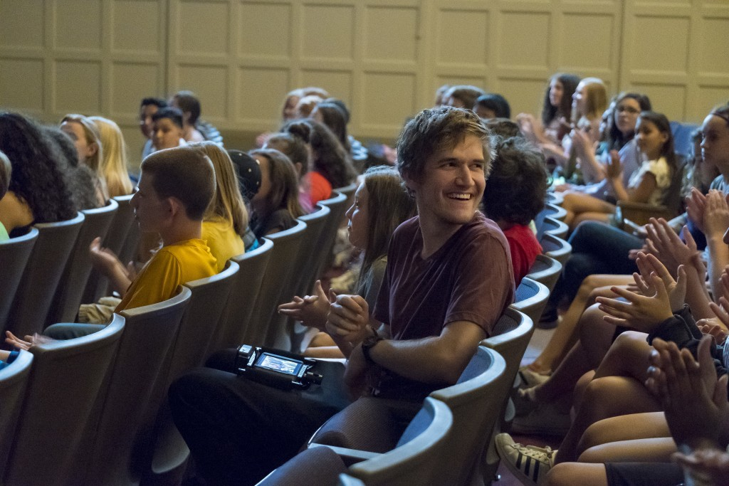 "This image released by A24 shows director Bo Burnham on the set of ""Eighth Grade."" (Linda Kallerus/A24 via AP)"
