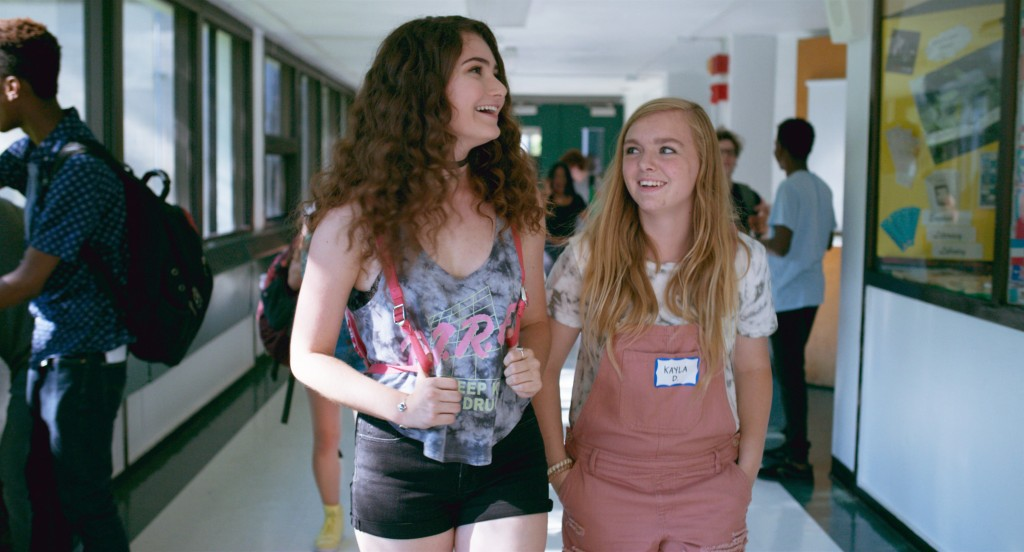 "This image released by A24 shows Emily Robinson, left, and Elsie Fisher in a scene from ""Eighth Grade."" (Linda Kallerus/A24 via AP)"