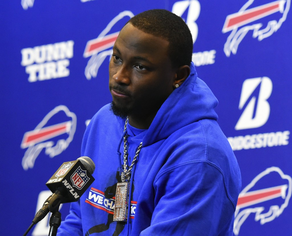 FILE - In this Dec. 17, 2017, file photo, Buffalo Bills running back LeSean McCoy (25) speaks with the media following an NFL football game against th