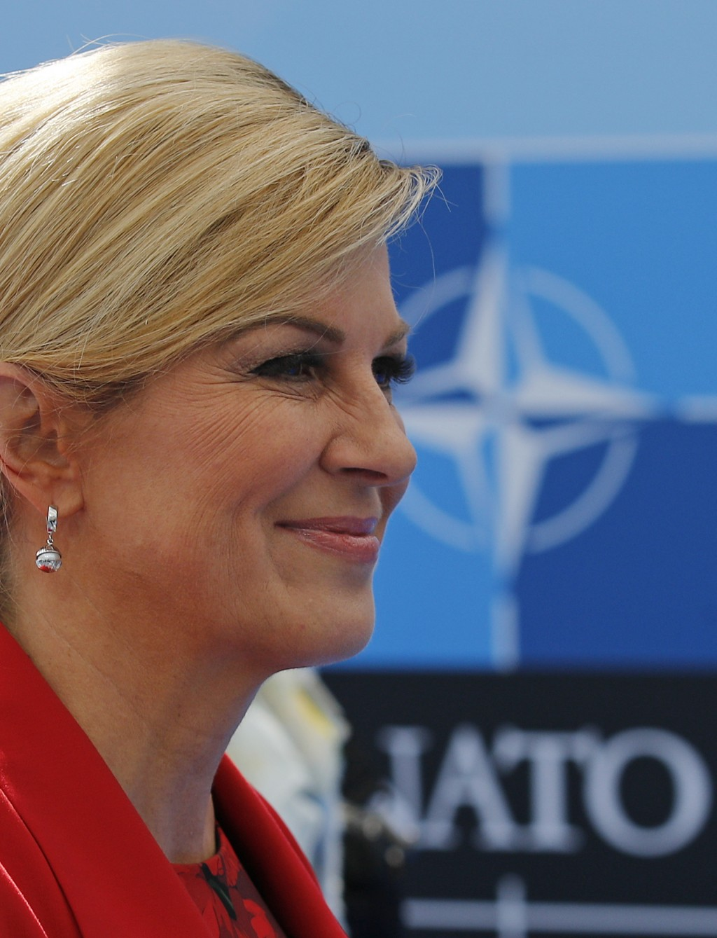 Croatian President Kalinda Grabar-Kitarovic arrives for a summit of heads of state and government at NATO headquarters in Brussels on Wednesday, July