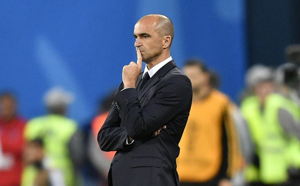 Belgium coach Roberto Martinez watches the semifinal match between France and Belgium at the 2018 soccer World Cup in the St. Petersburg Stadium in St