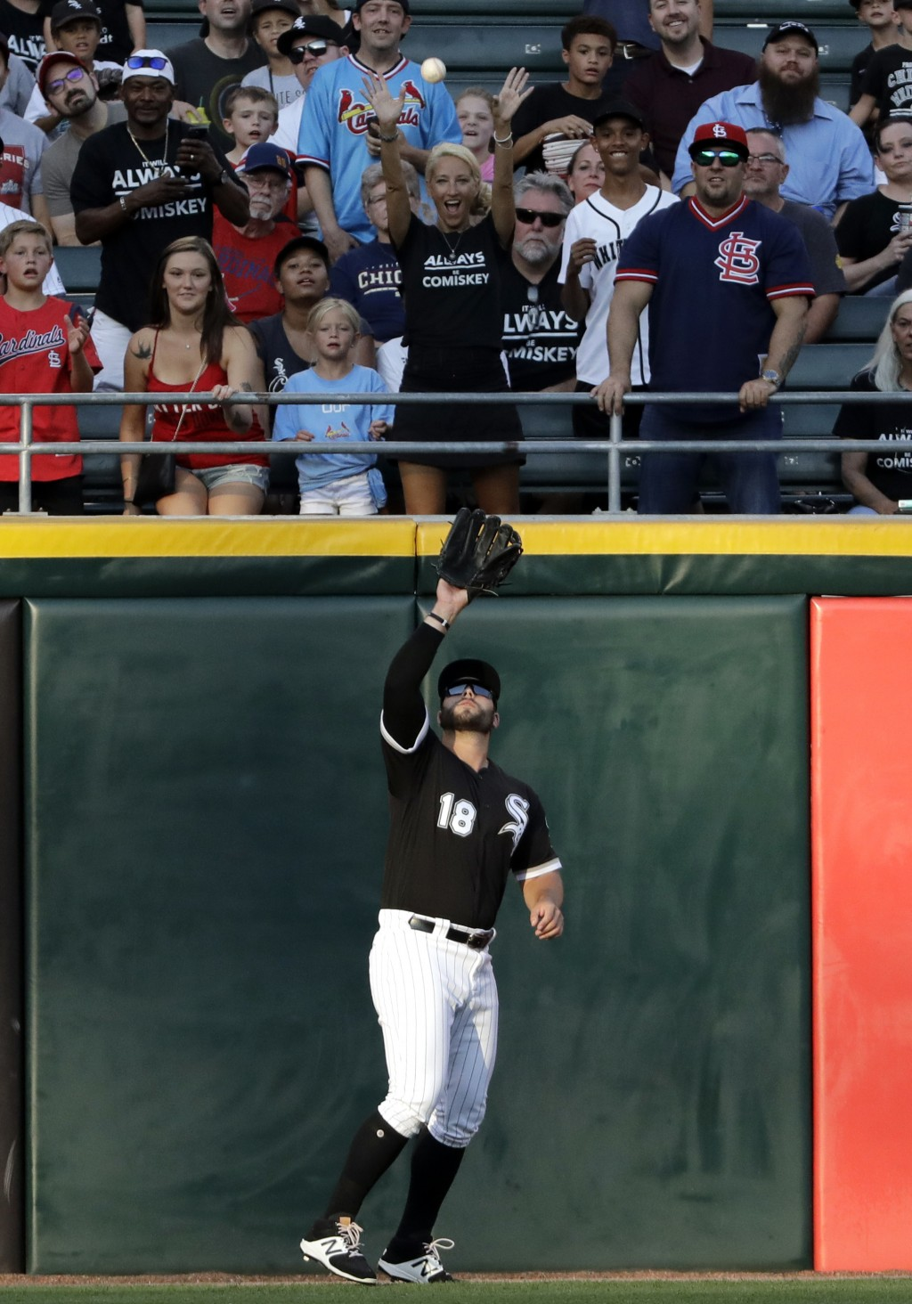 Chicago White Sox left fielder Daniel Palka catches a fly ball hit by St. Louis Cardinals' Matt Carpenter during the first inning of a baseball game i