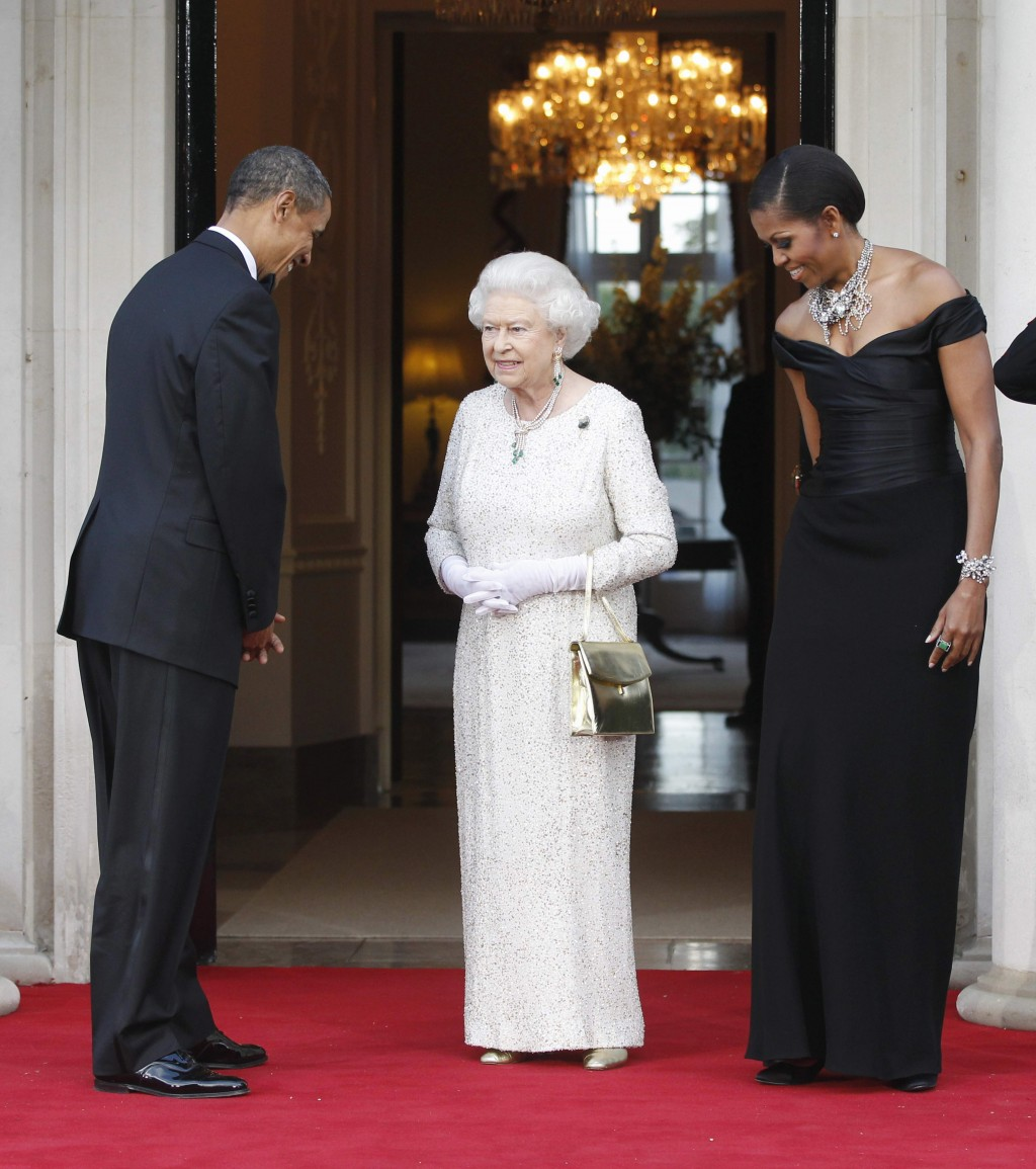 FILE  -  In this Wednesday, May 25, 2011 file photo, US President Barack Obama and first lady Michelle Obama welcome Britain's Queen Elizabeth II for