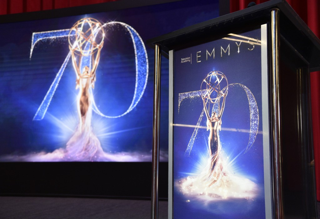 A screen and podium appear on stage at the 70th Primetime Emmy Nominations Announcements at the Television Academy's Saban Media Center on Thursday, J