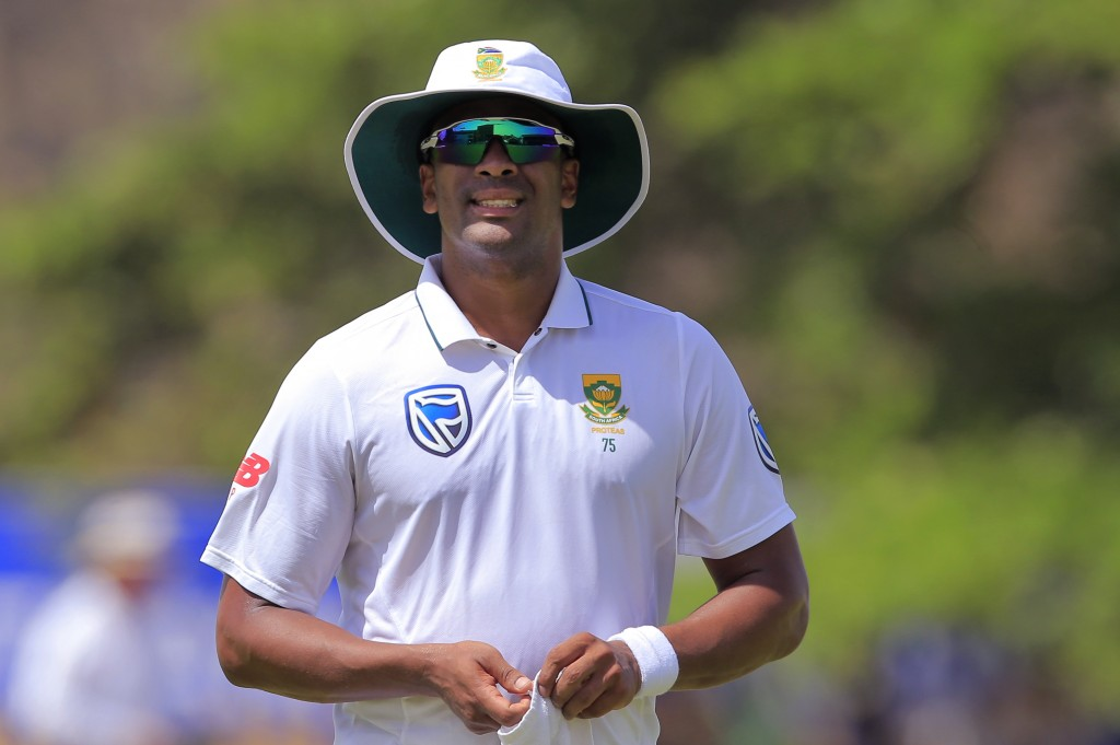 South Africa's Vernon Philander is seen on the field during the first day's play of their first test cricket match with Sri Lanka in Galle, Sri Lanka,