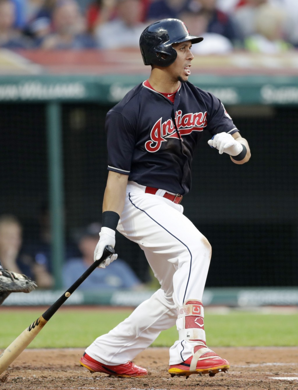 Cleveland Indians' Michael Brantley watches his two-run single off Cincinnati Reds relief pitcher Tanner Rainey during the third inning of a baseball