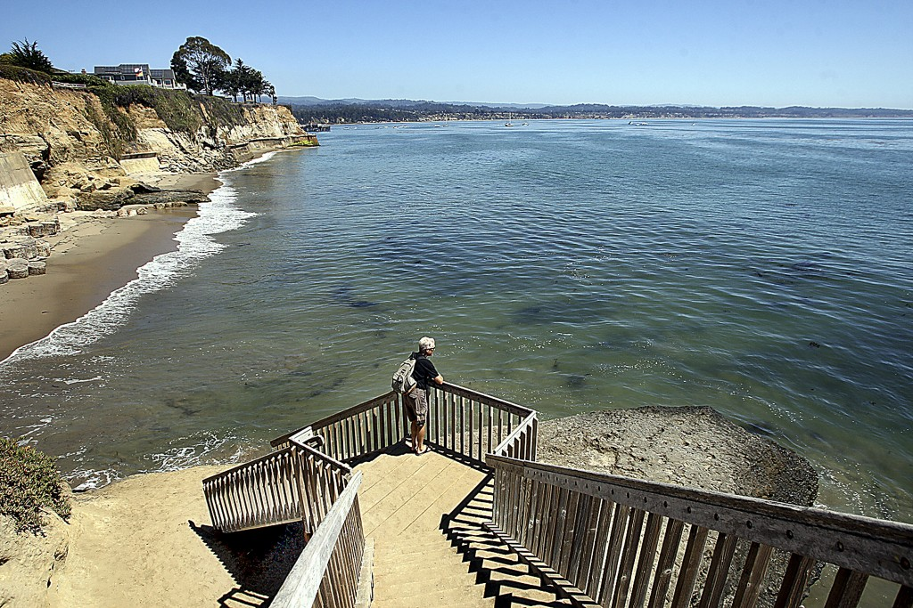This Aug. 31, 2016, photo shows a staircase from Opal Cliffs Park that leads to Opal Cliffs Neighborhood Beach, more commonly known as Privates, in th