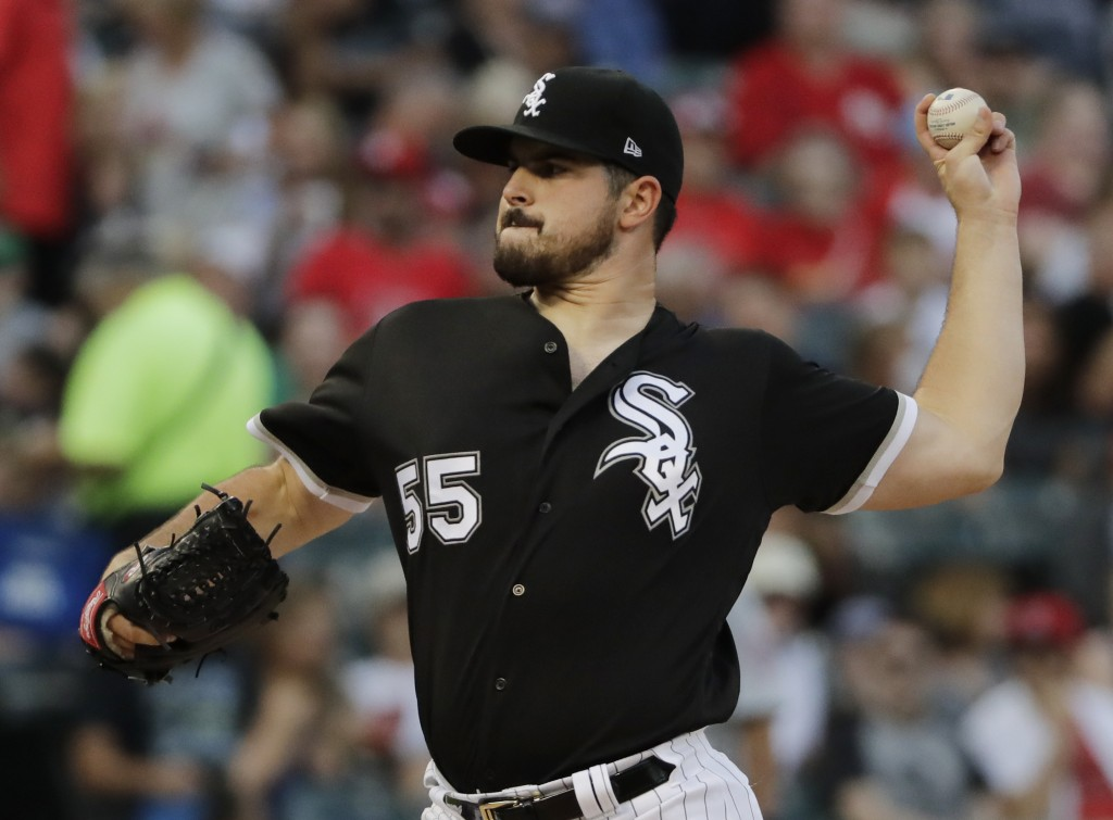 Chicago White Sox starting pitcher Carlos Rodon throws to a St. Louis Cardinals batter during the first inning of baseball game in Chicago, Wednesday,
