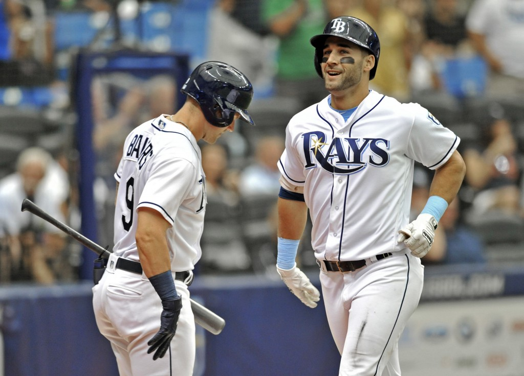 Tampa Bay Rays' Kevin Kiermaier, right, runs past Jake Bauers into the dugout after hitting s solo home run off Detroit Tigers starter Jordan Zimmerma