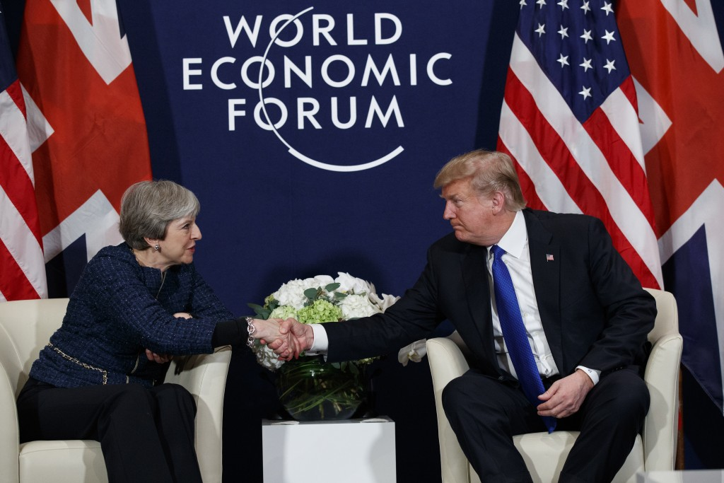 2018 President Donald Trump meets with British Prime Minister Theresa May at the World Economic Forum in Davo