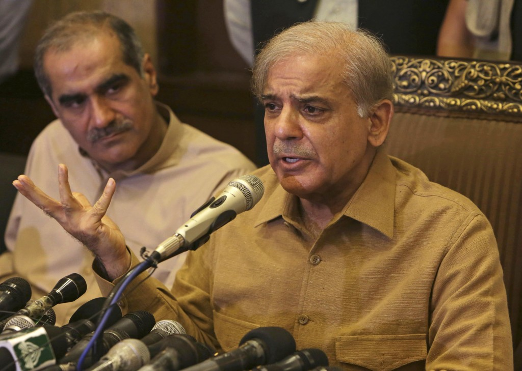 Shahbaz Sharif, brother of Pakistan's former Prime Minister Nawaz Sharif, who now heads the Pakistan Muslim League, addresses a news conference in Lah