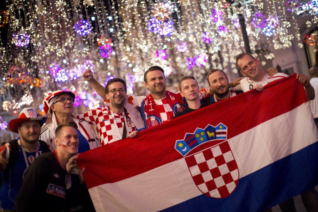 Croatia fans celebrate their team victory after the semifinal soccer match between Croatia and England during the 2018 soccer World Cup in Nikolskaya