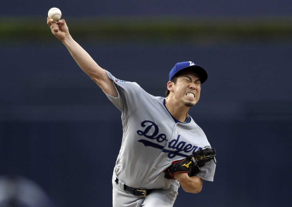 Los Angeles Dodgers starting pitcher Kenta Maeda throws to a San Diego Padres batter during the first inning of a baseball game Wednesday, July 11, 20