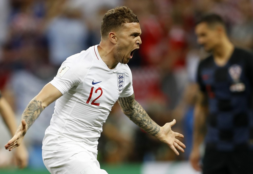 England's Kieran Trippier celebrates after scoring the opening goal during the semifinal match between Croatia and England at the 2018 soccer World Cu