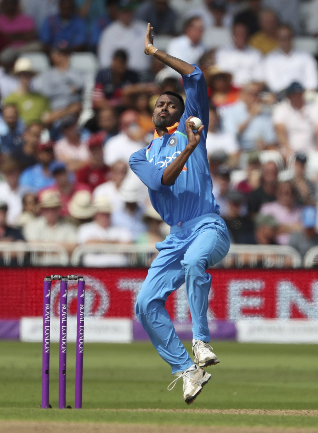 India's Hardik Pandya bowls during the One Day International Series cricket match between England and India at Trent Bridge, Nottingham, England, Thur