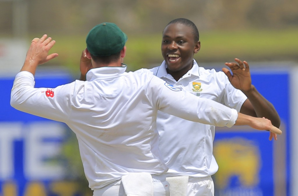 South Africa's Kagiso Rabada celebrates the dismissal of Sri Lanka's Angelo Mathews during the first day's play of their first test cricket match in G