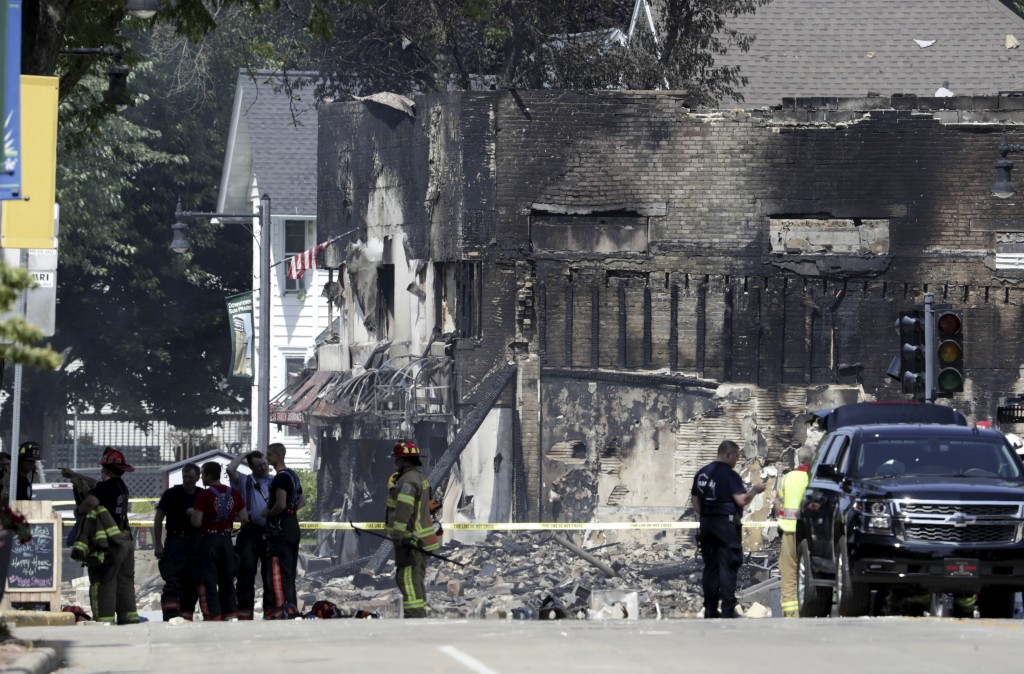 A large swath of downtown Sun Prairie remains closed Wednesday morning, July 11, 2018 in the wake of a gas leak explosion Tuesday evening that leveled