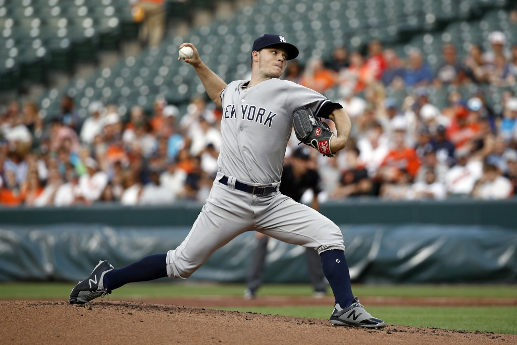 New York Yankees starting pitcher Sonny Gray throws to a Baltimore Orioles batter during the first inning of a baseball game Wednesday, July 11, 2018,