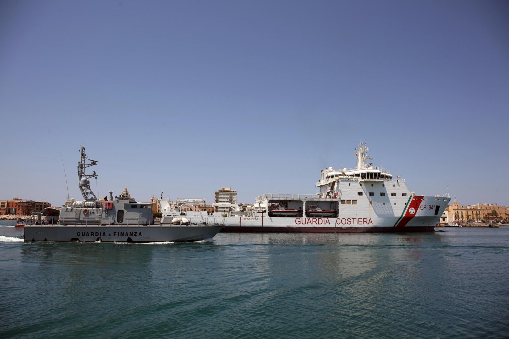 The Diciotti ship of the Italian Coast Guard, with 67 migrants on board rescued 4 days ago by the Vos Thalassa freighter, enters the Sicilian port of