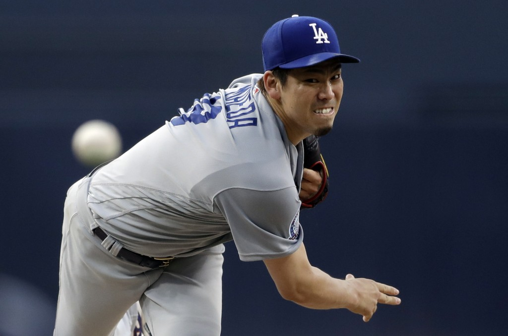 Los Angeles Dodgers starting pitcher Kenta Maeda, of Japan, works against a San Diego Padres batter during the first inning of a baseball game Wednesd