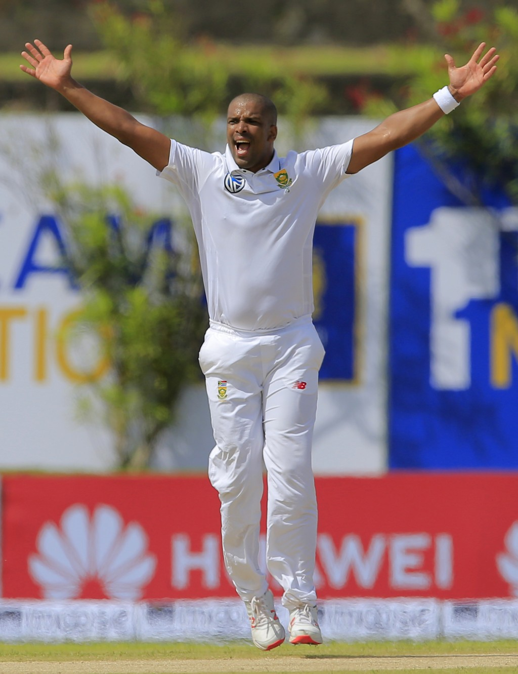 South Africa's Vernon Philander unsuccessfully appeals for the wicket of Sri Lanka's Dimuth Karunaratne during the first day's play of their first tes