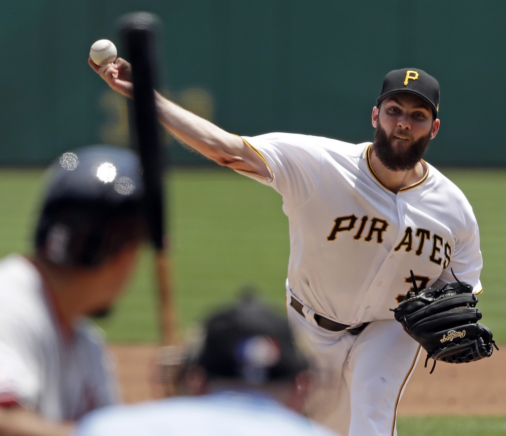 Pittsburgh Pirates starting pitcher Trevor Williams delivers in the third inning of a baseball game against the Washington Nationals in Pittsburgh, We