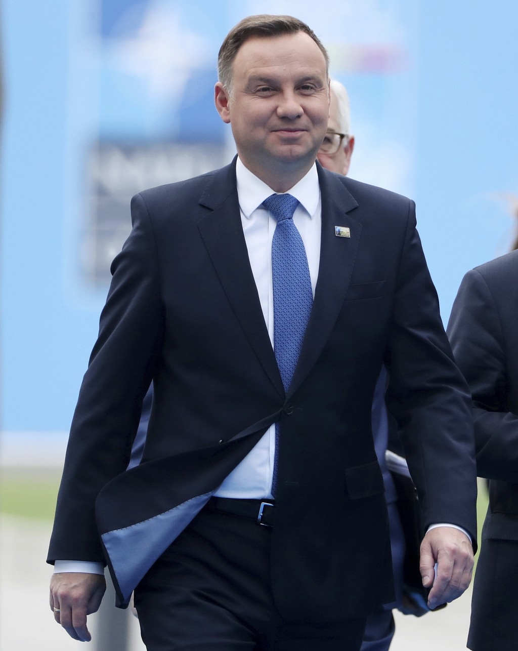 Polish President Andrzej Duda arrives for the second day of a summit of heads of state and government at NATO headquarters in Brussels, Belgium, Thurs