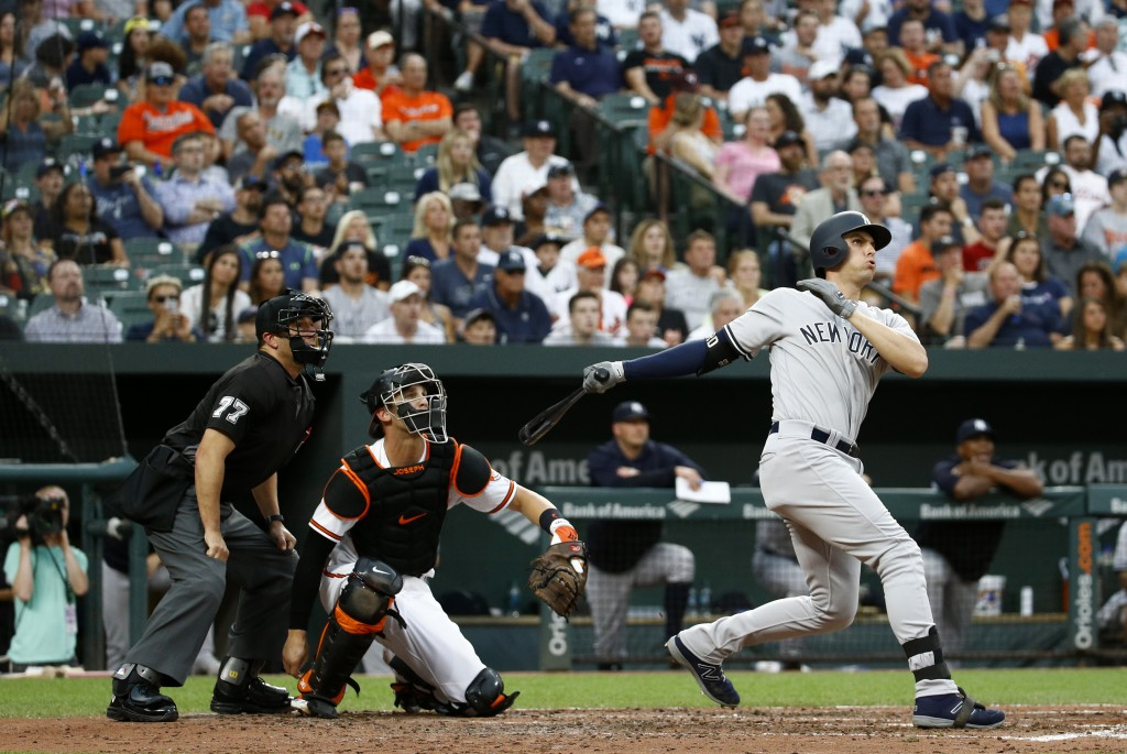 New York Yankees' Greg Bird, right, watches his grand slam in front of Baltimore Orioles catcher Caleb Joseph and home plate umpire Jim Reynolds durin