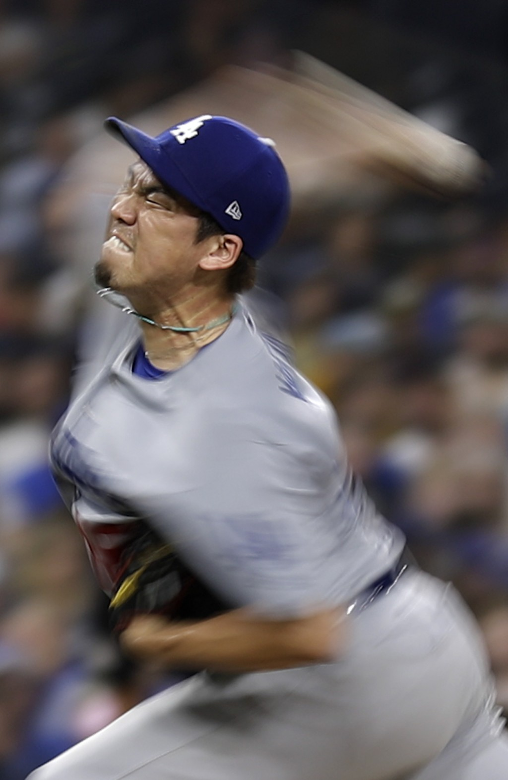 Los Angeles Dodgers starting pitcher Kenta Maeda works against a San Diego Padres batter during the fourth inning of a baseball game Wednesday, July 1