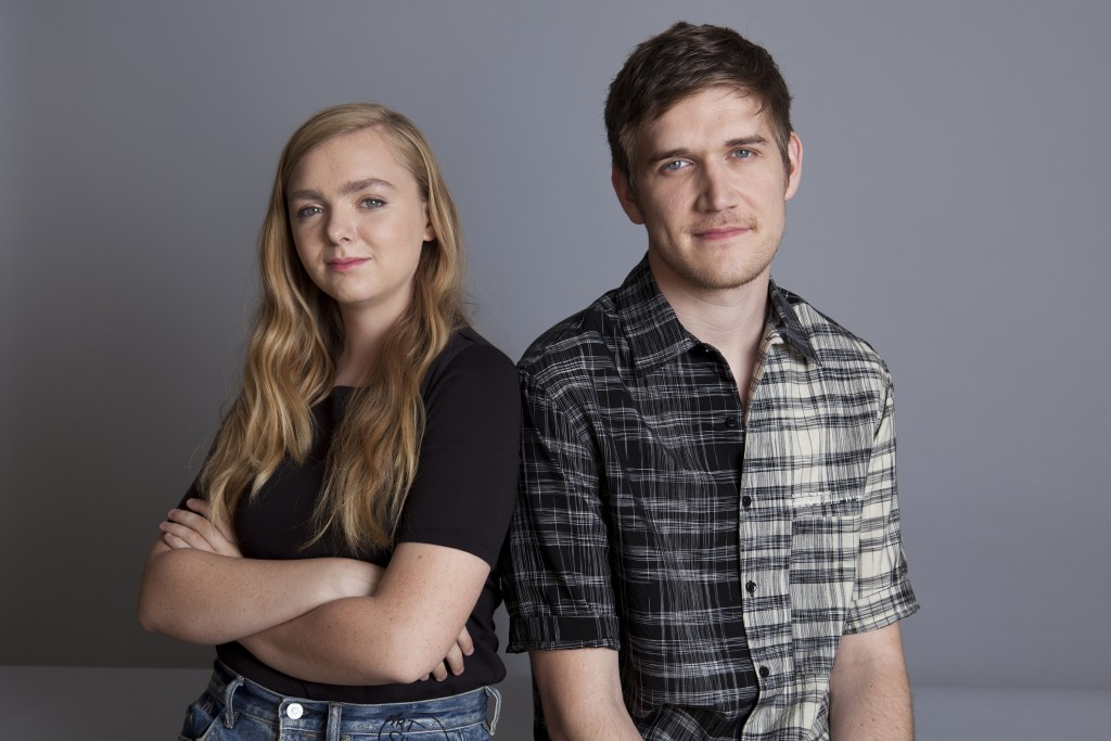 In this June 20, 2018 photo, actress Elsie Fisher, left, and director Bo Burnham pose at the Four Seasons Hotel in Los Angeles to promote their new fi