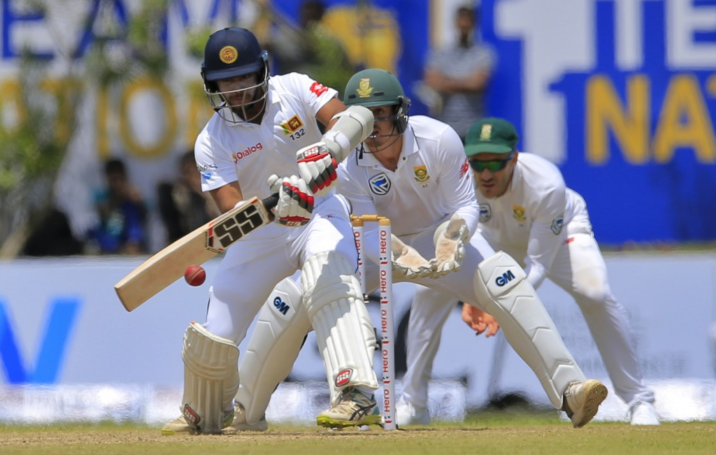Sri Lanka's Kusal Mendis plays a shot against South Africa during the first day's play of their first test cricket match in Galle, Sri Lanka, Thursday