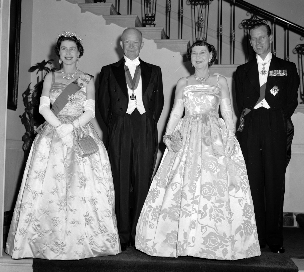 FILE - In this file photo dated Oct. 17, 1957, President Dwight Eisenhower, second left and first lady Mamie, second right are flanked by their royal