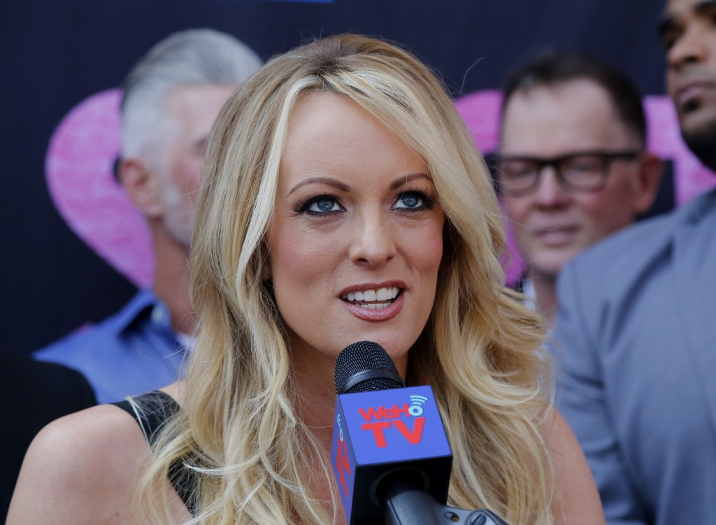 FILE - In this May 23, 2018 file photo, porn actress Stormy Daniels speaks during a ceremony for her receiving a City Proclamation and Key to the City