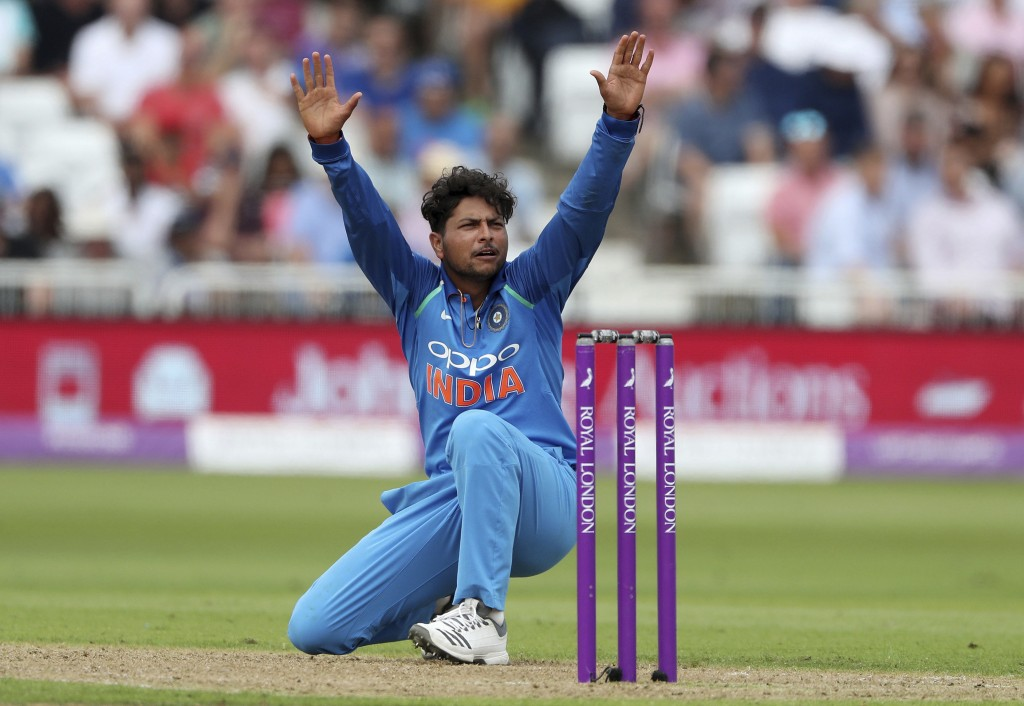 India's Kuldeep Yadav appeals during the One Day International Series cricket match between England and India at Trent Bridge, Nottingham, England, Th