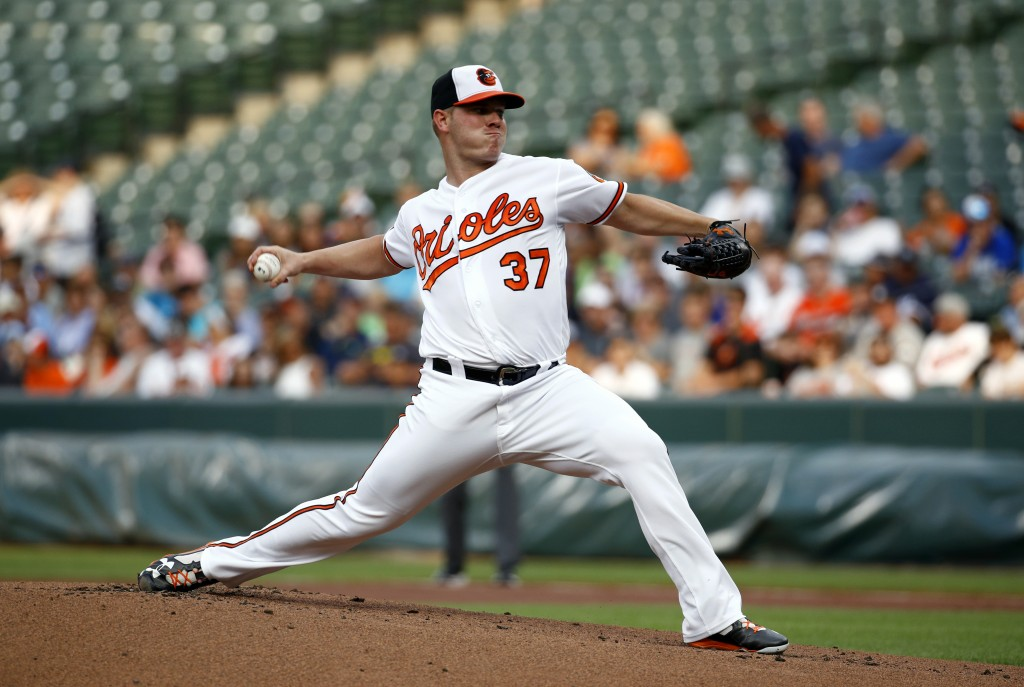 Baltimore Orioles starting pitcher Dylan Bundy throws to a New York Yankees batter during the first inning of a baseball game Wednesday, July 11, 2018