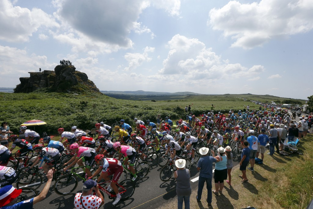 The pack rides during the sixth stage of the Tour de France cycling race over 181 kilometers (112.5 miles) with start in Brest and finish in Mur-de-Br