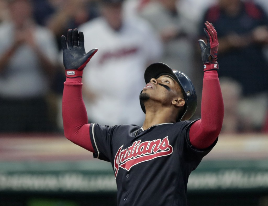 Cleveland Indians' Francisco Lindor looks up after hitting a three-run home run off Cincinnati Reds relief pitcher Jackson Stephens during the fourth