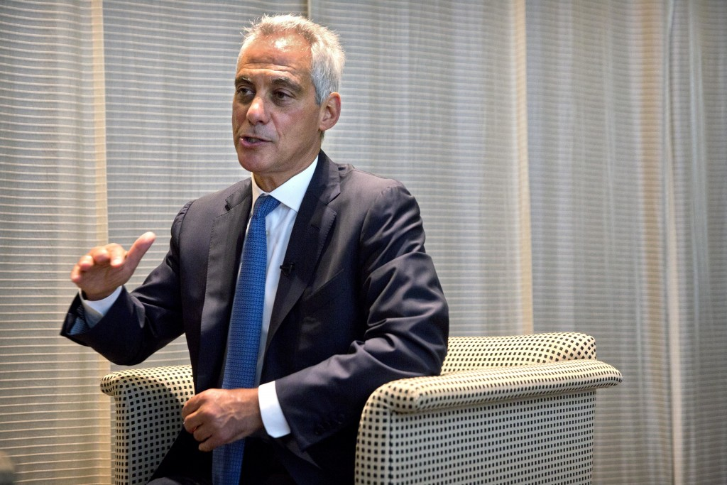 Chicago Mayor Rahm Emanuel speaks during an interview with the Associated Press in Beijing, Thursday, July 12, 2018. Emanuel, on a mission to salvage
