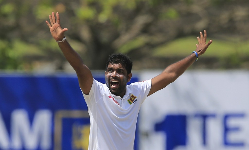 Sri Lanka's Dilruwan Perera appeals unsuccessfully for the wicket of  South Africa's Dean Elgar during the second day of their first test cricket matc