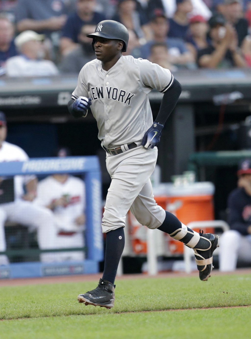 New York Yankees' Didi Gregorius runs the bases after hitting a solo home run off Cleveland Indians starting pitcher Corey Kluber during the fourth in