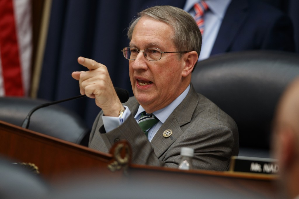 """Chairman of the House Judiciary Committee Rep. Bob Goodlatte, R-Va., questions FBI Deputy Assistant Director Peter Strzok during a hearing on """"Oversig"""
