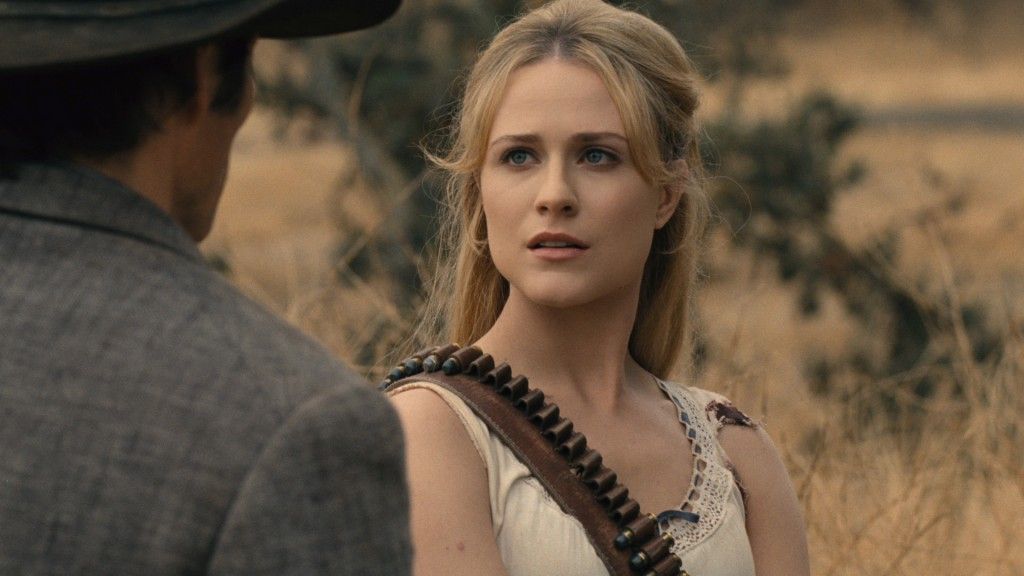 "This image released by HBO shows Evan Rachel Wood in a scene from ""Westworld."" Wood was nominated Thursday for an Emmy for outstanding lead actress in"