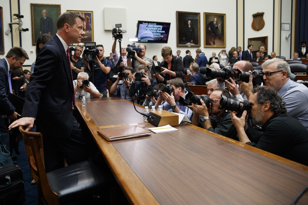 FBI Deputy Assistant Director Peter Strzok arrives to testify before the the House Committees on the Judiciary and Oversight and Government Reform dur