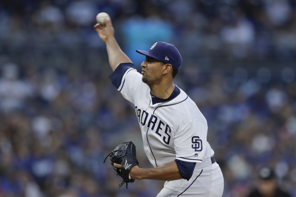 San Diego Padres starting pitcher Tyson Ross works against a Los Angeles Dodgers batter during the third inning of a baseball game Thursday, July 12,